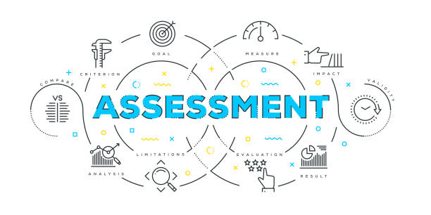 modern flat line design concept of assessment - evaluation stock illustrations