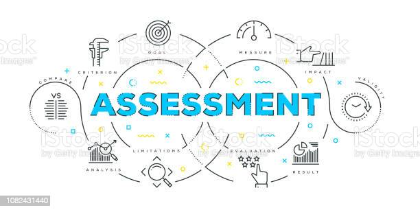 Modern Flat Line Design Concept Of Assessment — стоковая векторная графика и другие изображения на тему Анализировать