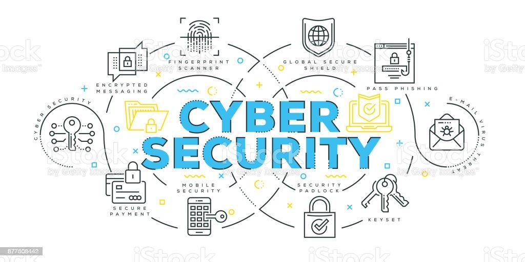 Modern Flat Line Design Concept of Cyber Security vector art illustration