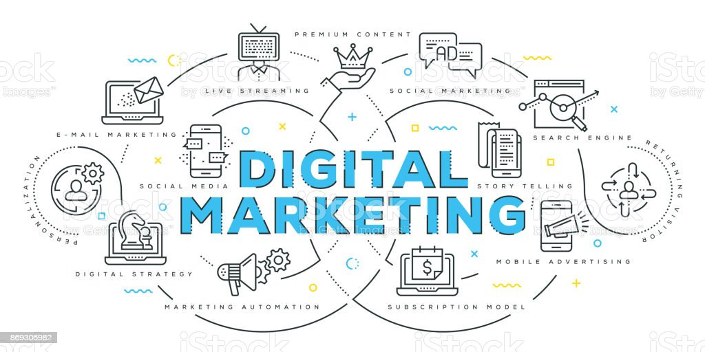 Línea plana moderna concepción del Marketing Digital - ilustración de arte vectorial