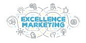 Modern Flat Line Design Concept of Excellence Marketing