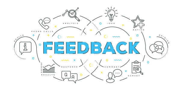 Modern Flat Line Design Concept of Feedback vector art illustration