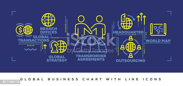 Modern Flat Line Design Concept of Global Business