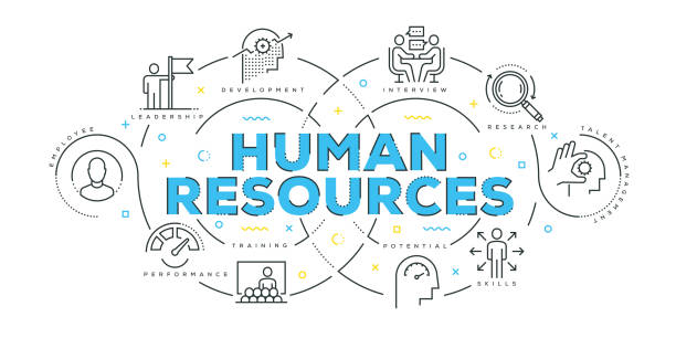 moderne flache linie design-konzept der human resources - gelegenheit grafiken stock-grafiken, -clipart, -cartoons und -symbole