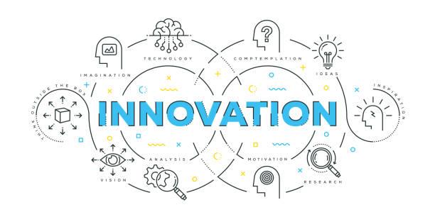 moderne flat-line-design-konzept der innovation - innovation stock-grafiken, -clipart, -cartoons und -symbole