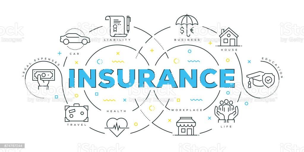 Concept de Design moderne ligne plate de l'assurance - Illustration vectorielle
