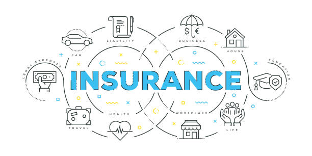 modern flat line design concept of insurance - insurance stock illustrations