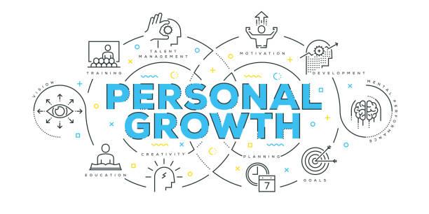 Concept de Design moderne ligne plate de croissance personnelle - Illustration vectorielle