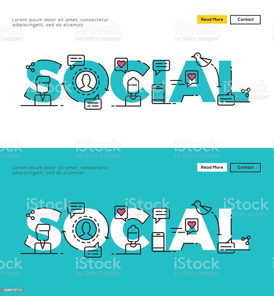 Modern Flat line design concept of Social Media vector art illustration