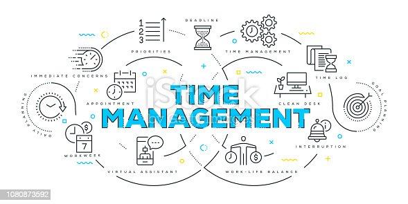 Modern Flat Line Design Concept of Time Management