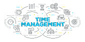Modern Flat Line Design Concept of Time Management