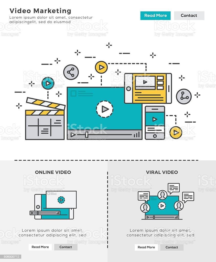 Modern Flat line design concept of Video Marketing vector art illustration
