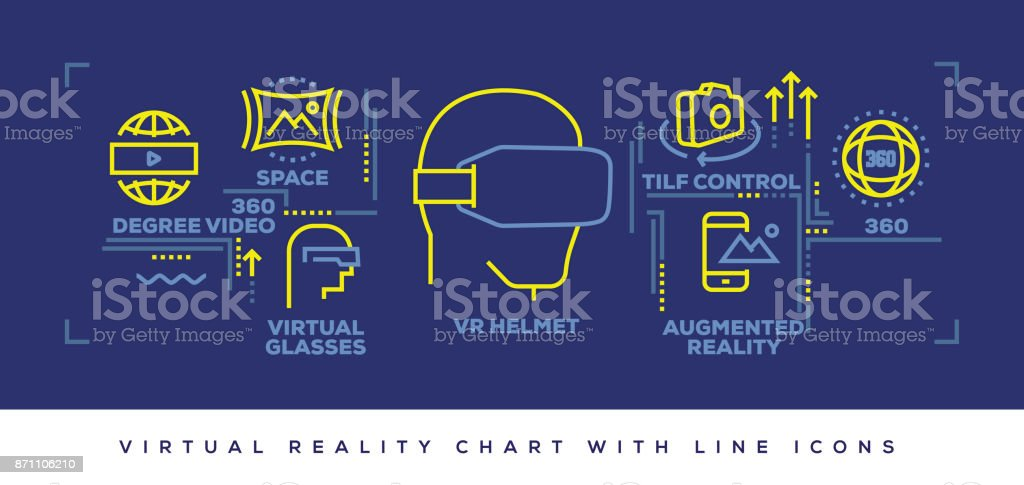 Modern Flat Line Design Concept of Virtual Reality vector art illustration