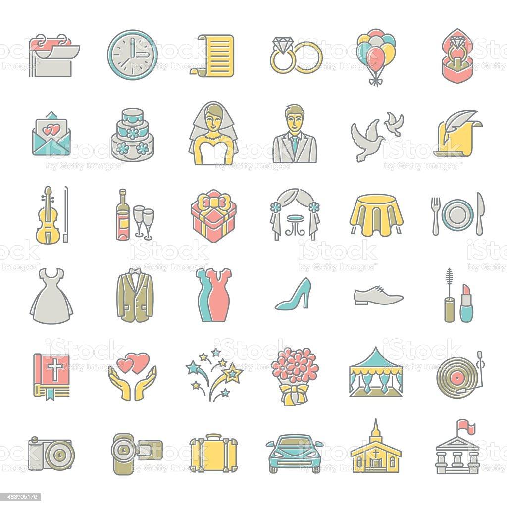 Modern flat linear colorful vector wedding icons vector art illustration