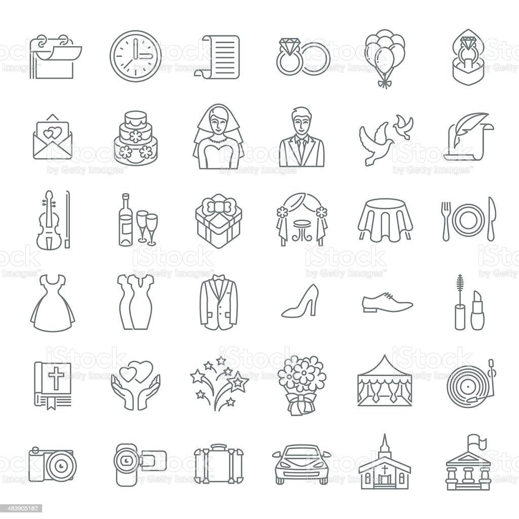 Modern flat linear vector wedding icons vector art illustration