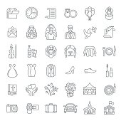 Modern flat linear vector wedding icons
