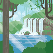 A modern flat nature jungle illustration with pond