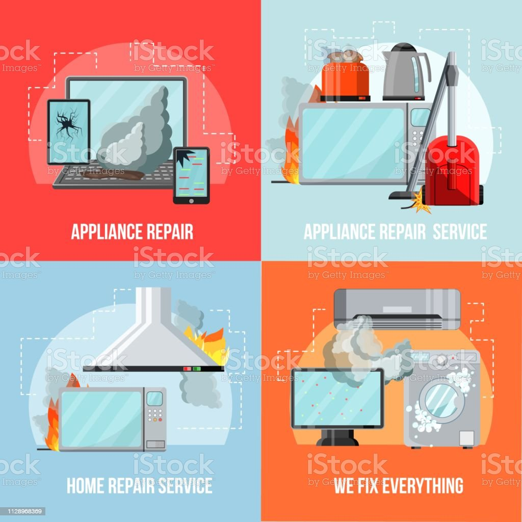 Modern Flat Repair Service Conceptdamaged Consumer Electronics Home Appliancesvector Banners Setbroken Household Goodssmall Business Flyer Banner Conceptsready To Use Copy Space Stock Illustration Download Image Now Istock