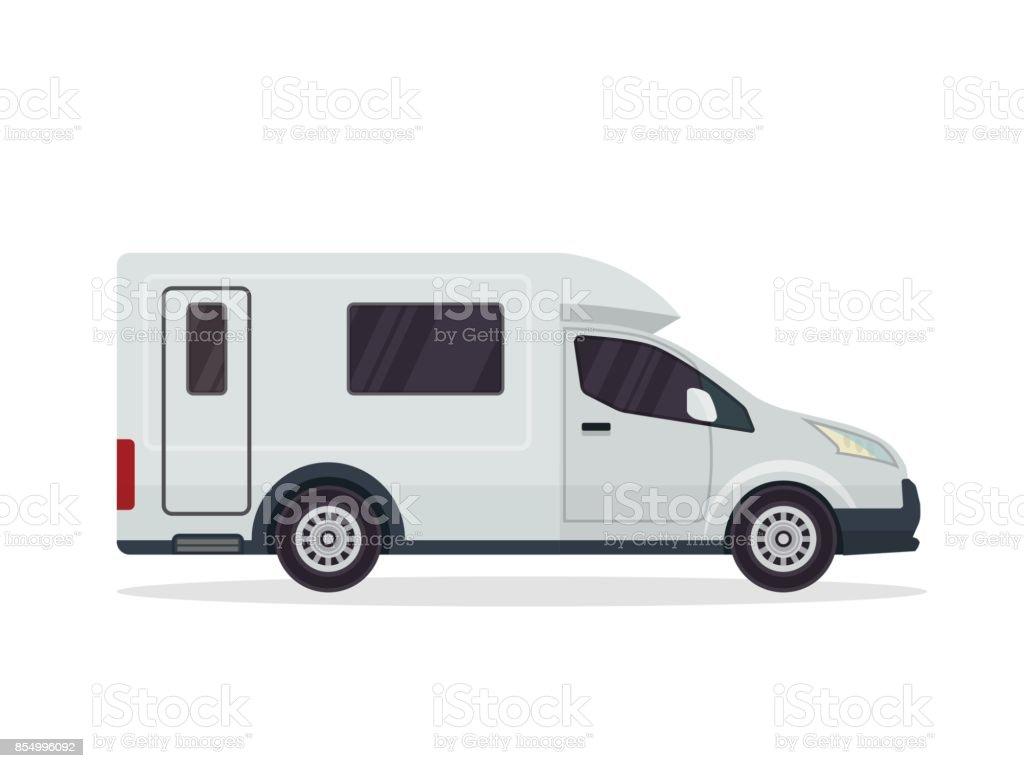 Modern Flat Rv Motorhome Vehicle Illustration Stock