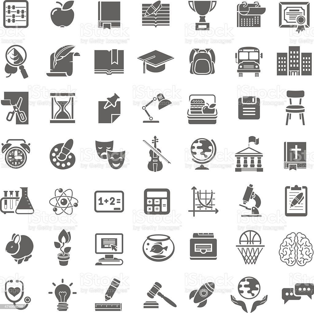 Modern Flat School Icons Outline Monochrome Silhouettes vector art illustration