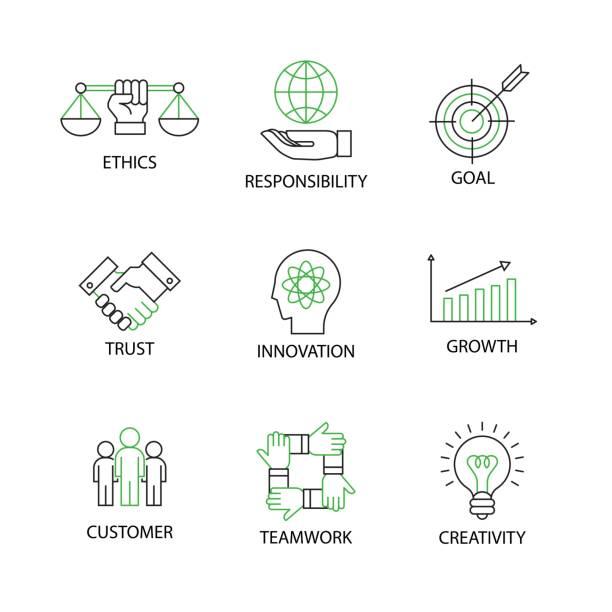 moderne wohnung dünne linie icon set im konzept des business grundwerte mit wort ethics,responsibility,goal,trust,innovation,growth,customer,teamwork,creativity.editable schlaganfall. - trust stock-grafiken, -clipart, -cartoons und -symbole