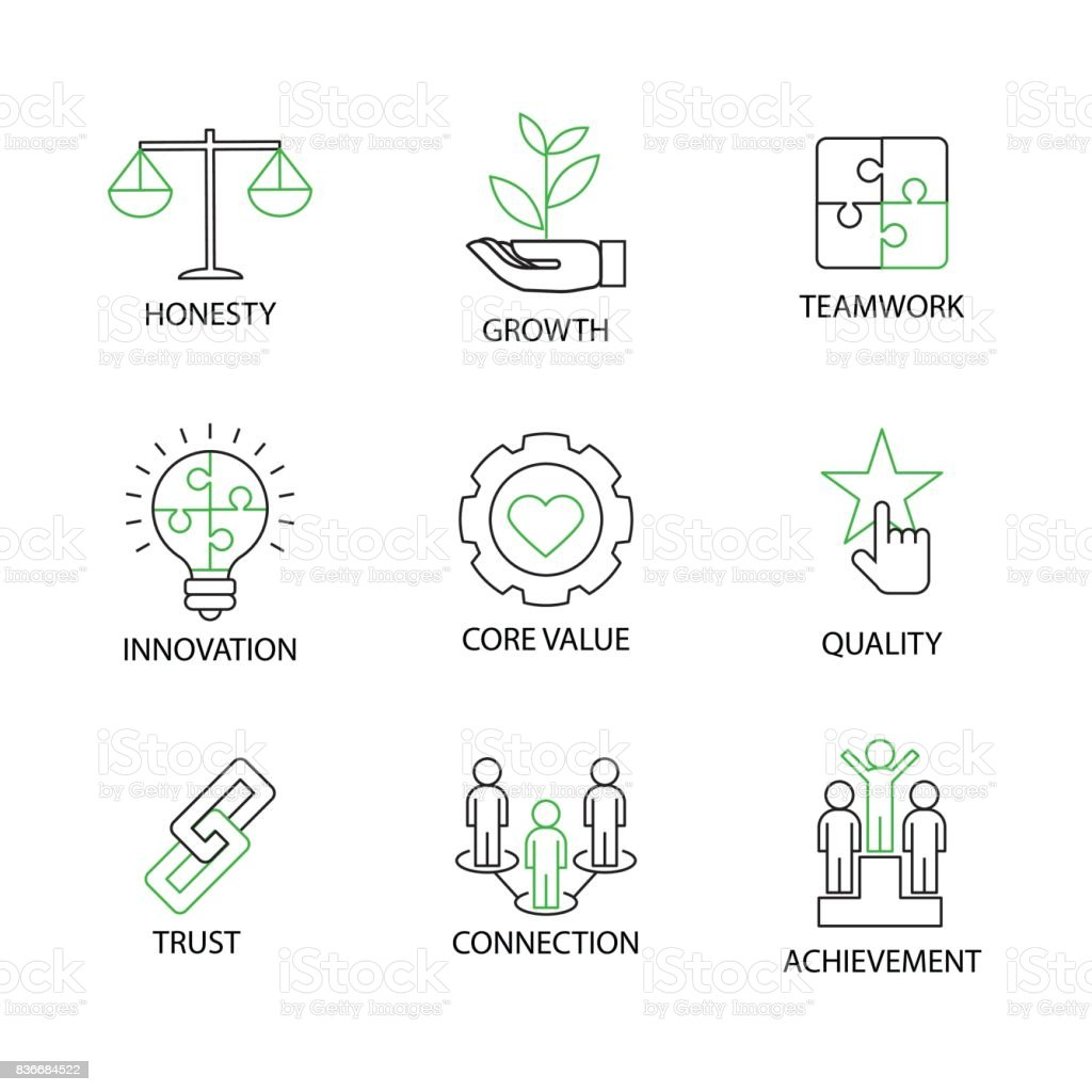 Modern Flat Thin Line Icon Set In Concept Of Business Core Values With Word Team Buildingrotationconnectionteamworkwinnerinternationalrating And Creative Teamdiscussioneditable Stroke Stock Illustration Download Image Now Istock