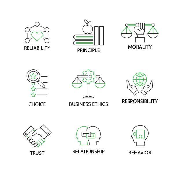 moderne wohnung dünne linie icon set in concept of business ethics mit wort zuverlässigkeit, prinzip, moral, wahl, business ethic,responsibility,trust,relationship,behavior.editable schlaganfall. - trust stock-grafiken, -clipart, -cartoons und -symbole