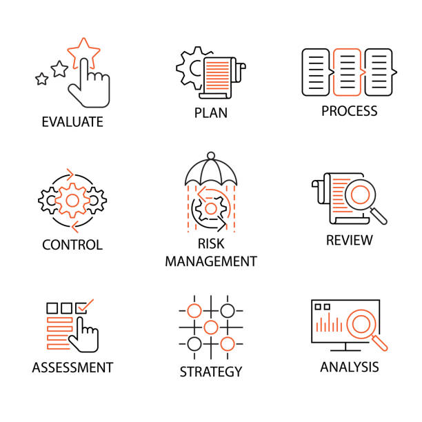 modern flat cienka linia ikona zestaw w koncepcji biznesu, mentoringu, coachingu i zarządzania ludźmi. edytowalny obrys. - menadżer stock illustrations