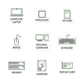 Modern Flat thin line Icon Set in Concept of Computer Peripheral. Editable Stroke.