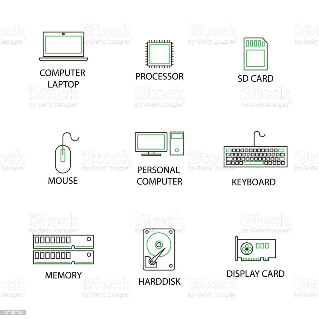 Moderne Wohnung Dünne Linie Icon Set Im Konzept Der Computer Peripherie.  Editierbare Schlaganfall. Lizenzfreies