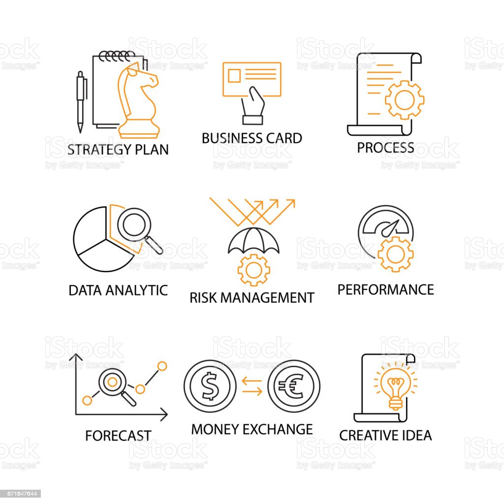 Modern flat thin line icon set in concept of digital marketing with modern flat thin line icon set in concept of digital marketing with word strategy plan reheart Images