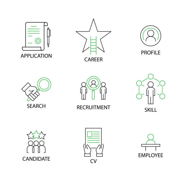 Modern Flat thin line Icon Set in Concept of Human and Resource Management  with word Application,Career,Profile,Search,Recruitment,Skill,Candidate,CV Curriculum Vitae,Employee. Editable Stroke. Modern Flat thin line Icon Set in Concept of Human and Resource Management  with word Application,Career,Profile,Search,Recruitment,Skill,Candidate,CV Curriculum Vitae,Employee. Editable Stroke. recruiter stock illustrations