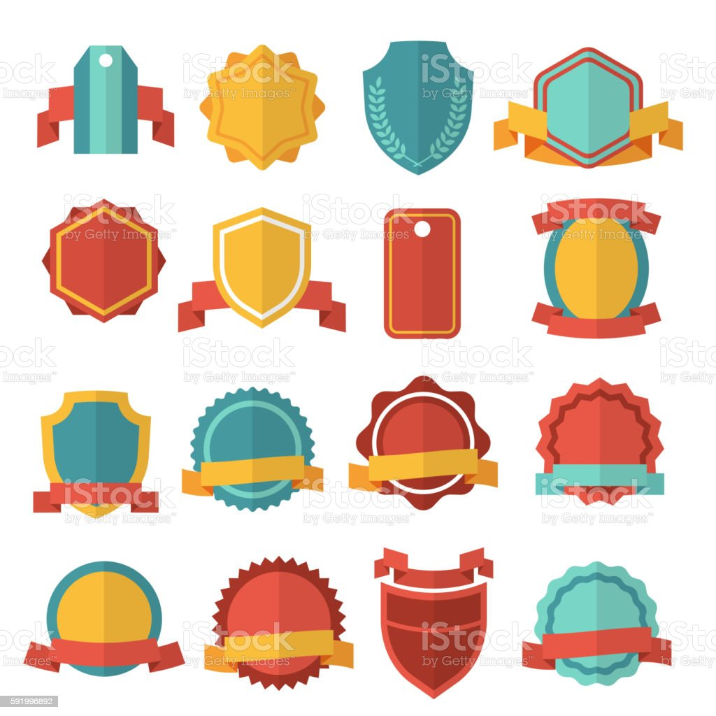 Modern flat vector badges set - Illustration vectorielle