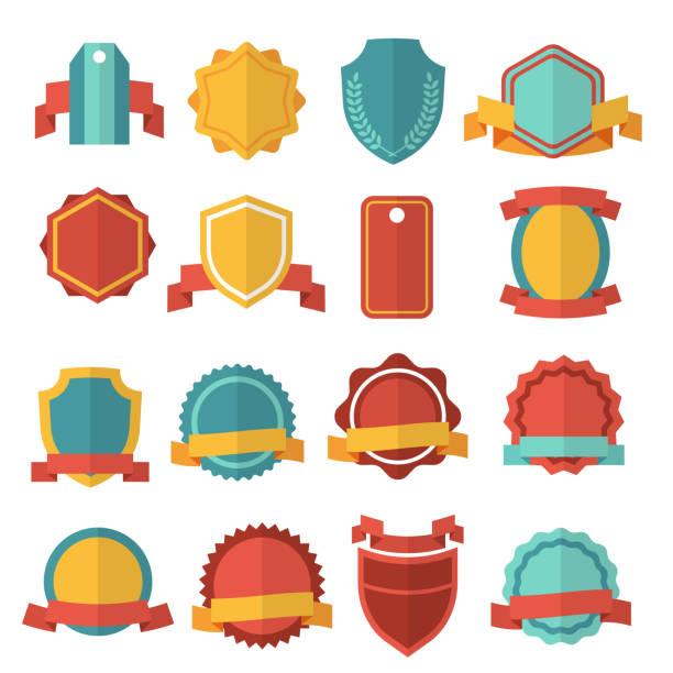 Modern flat vector badges set – Vektorgrafik