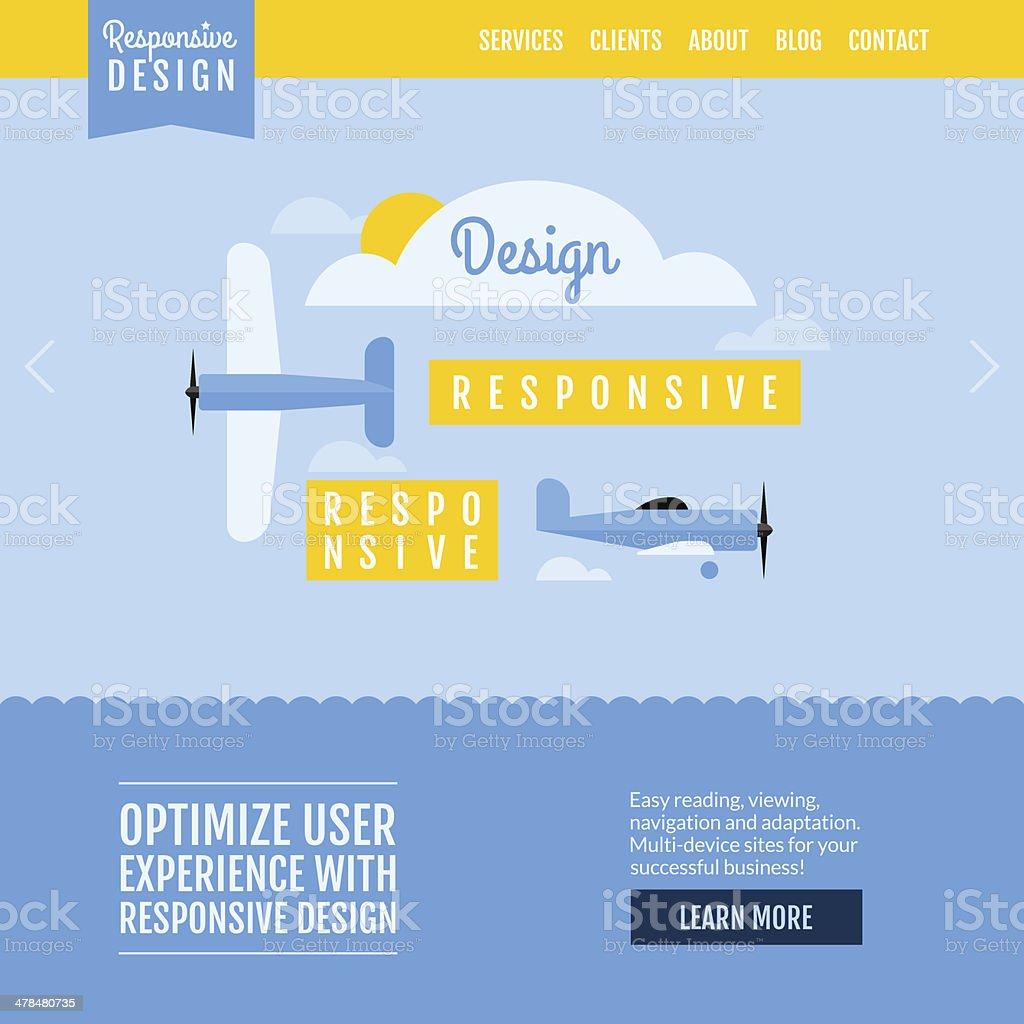 Responsive Design Website Template Modern Flat Vector