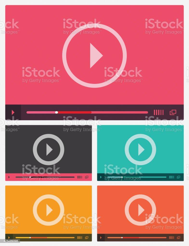 Modern flat video player interface. vector art illustration