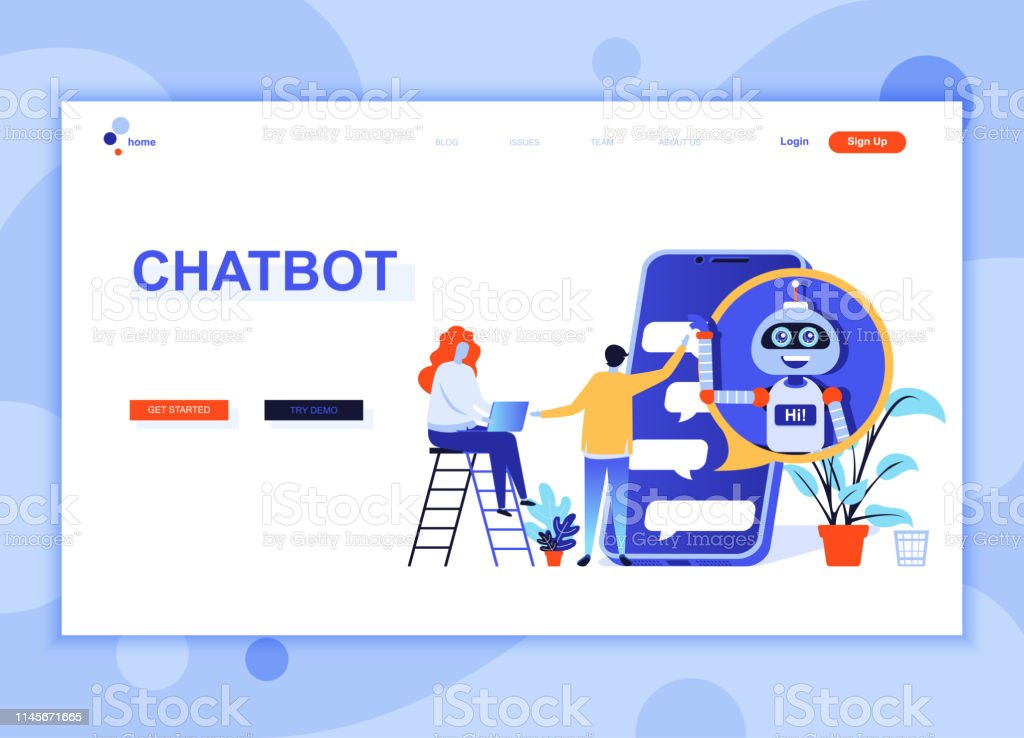 Modern Flat Web Page Design Template Concept Of Chat Bot And