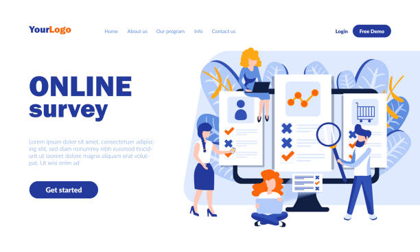 Modern flat web page design template concept of Online Survey – artystyczna grafika wektorowa