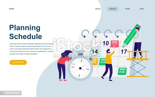 Modern flat web page design template of Planning Schedule decorated people character for website and mobile website development. Flat landing page template. Vector illustration.