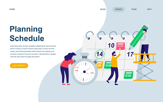 Modern flat web page design template of Planning Schedule decorated people character