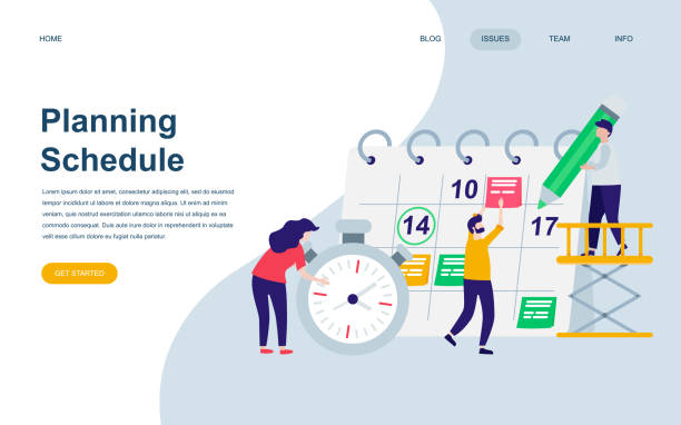 modern flat web page design template of planning schedule decorated people character - event stock illustrations