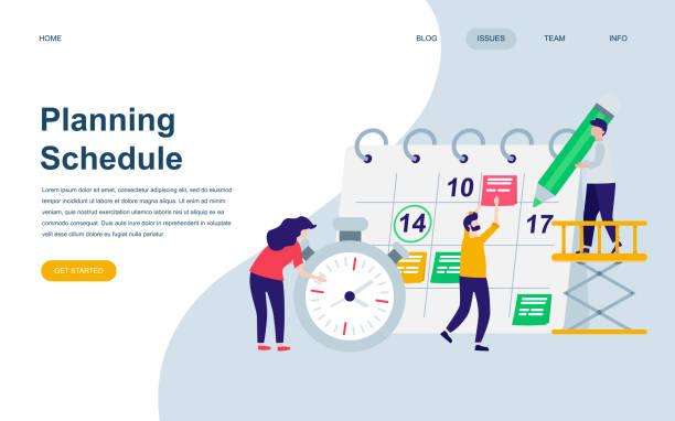 modern düz web sayfa tasarım şablonu planlama çizelgesinin insanlar karakter dekore edilmiştir. - agenda stock illustrations