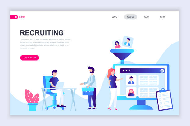 modern flat web page design template of recruiting decorated people character - business cv templates stock illustrations