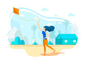 Young Modern Flat Woman Running Flying Kite in Sky. Enjoy Playful Activity Lifestyle. Spending Free Time Outdoor Recreational Activities on Open Air. Holiday Relax. Vector Illustration.
