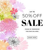 Sophisticated floral design graphics. Border frame composition. Modern flowers illustration.