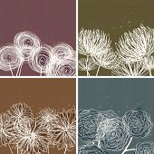 Modern Floral Doodle Backgrounds.