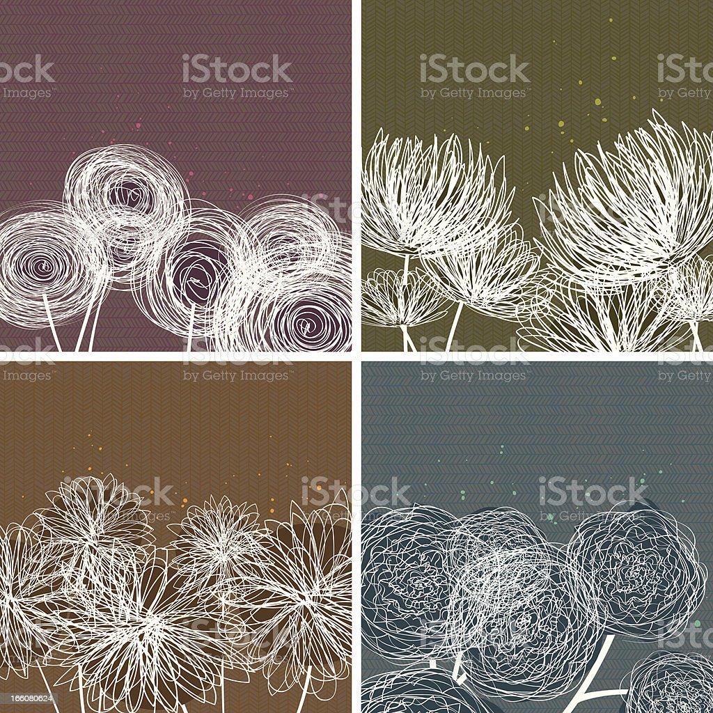 Modern Floral Doodle Backgrounds vector art illustration