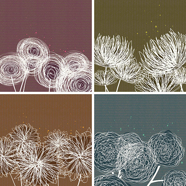 Modern Floral Doodle Backgrounds vector art illustration