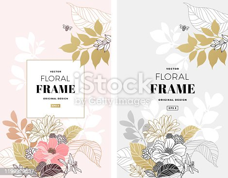 Sophisticated floral design. Frame composition. Modern flowers illustration.