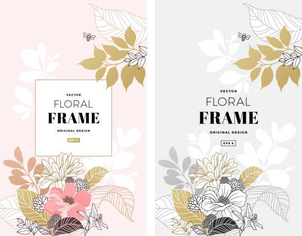 Modern Floral Frame Sophisticated floral design. Frame composition. Modern flowers illustration. bee borders stock illustrations